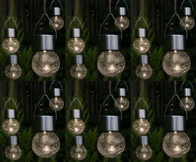 LED Hänge-Solarleuchten 24 Stück Kristallglas Solarlampen hängend Gartenkugel