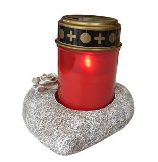 Grablichthalter Herz mit Grablicht rot und Batterien Ewiges Licht Flackereffekt