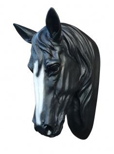 Pferdekopf Büste schwarz mit weißer Blesse Dekofigur Stute Hengst Tierfigur