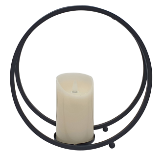 Laterne Metall schwarz rund mit LED-Kerze Flackereffekt Ø 26 cm Kerzenhalter