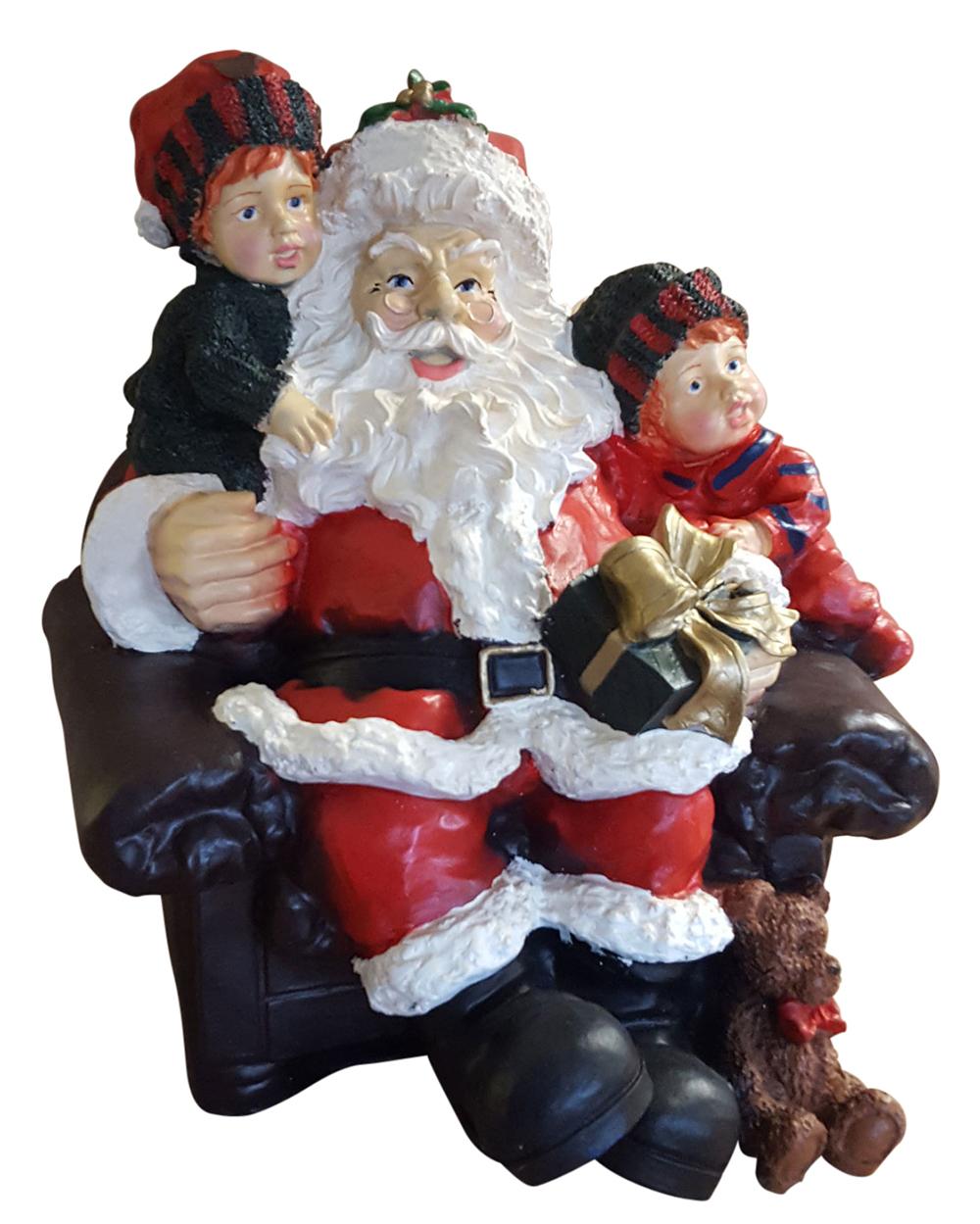Dekofigur Weihnachtsmann mit Kindern im Sessel Weihnachtsfigur Deko ...