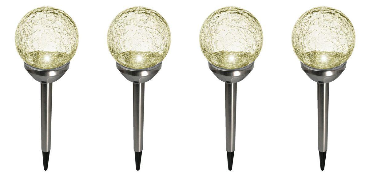 4er Set Kristallglas Premium Solarlampe LED Edelstahl Gartenkugel On-Offschalter