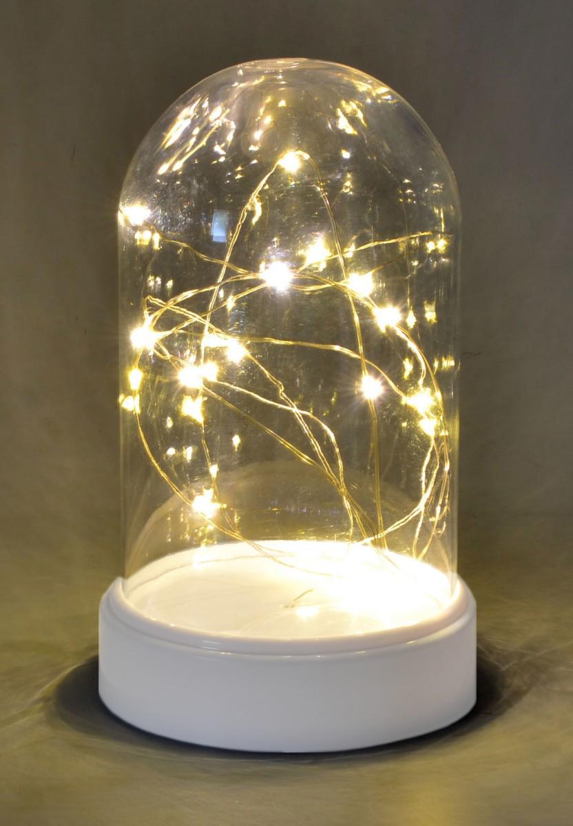 Led Lichterkette Tischdeko Kaseglocke Beleuchtet Mit 20 Micro Led S