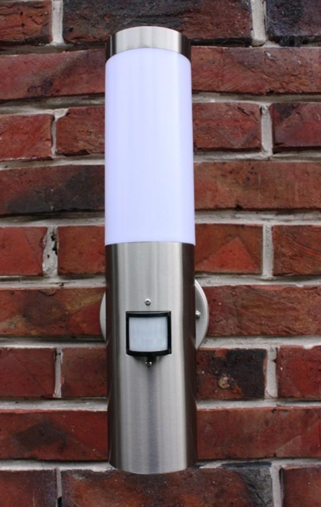 edelstahl au enlampe mit led 9 watt au enleuchte hoflampe. Black Bedroom Furniture Sets. Home Design Ideas