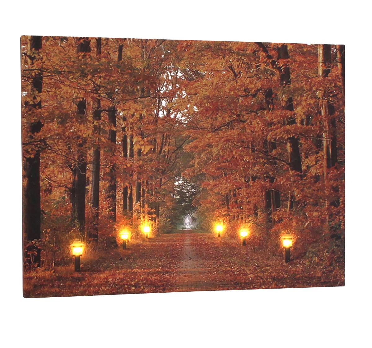 Leinwandbild Mit Led Beleuchtung Wandbild Herbst Mit 6 Laternen