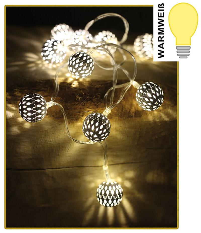 led lichterkette mit 10 kugeln wei warmwei batteriebetrieb weihnachtsdeko kaufen bei. Black Bedroom Furniture Sets. Home Design Ideas