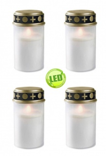 4er Set Grablichter weiß, LED Kerze, Grabkerze, Ewiges Licht, Flackereffekt