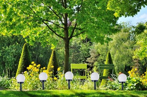 5er Set LED Solarlampe, Wegeleuchte, Solarleuchte mit Erdspieß, Gartenbeleuchtung