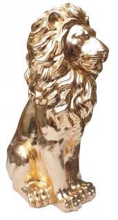 Sitzender Löwe gold Statue Skulptur Deko Indoor Fiberglas Tierfigur 62x26x40 cm
