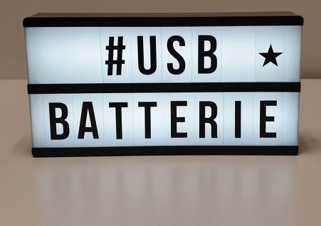Light Box LED Lichtbox 2-zeilig 85 Buchstaben Symbole Batterie Micro-USB