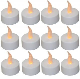 12er Set LED Teelichter rund weiß, inkl. Batterien, Tischdekoration, Ambiente