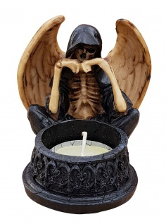 Dekofigur Geist mit Flügeln vor Teelicht Skelett Totenkopf Gothic Mystik Fantasy - Vorschau 1