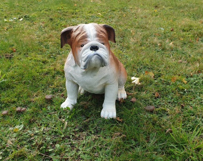 Glitzer Hund Dekofigur Figur Hundefigur Statue Weiß Mops Bulldogge Krone TOP