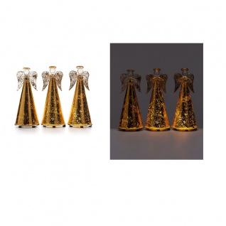3er Set Engel aus Glas mit LED-Beleuchtung und Timer Deko Tischdeko Weihnachten