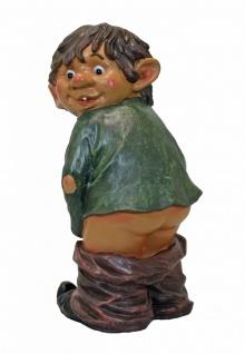 Niedliche Dekofigur Junge lässt Hose runter, Garten Dekoration Skulptur H 32 cm