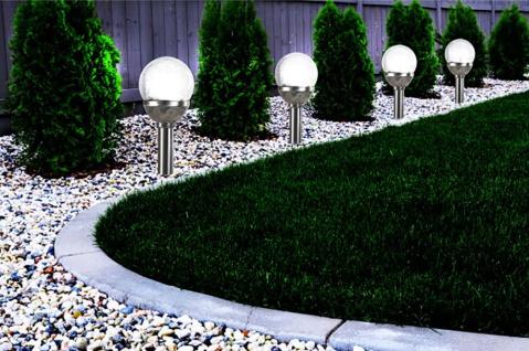 3er Set Kristallglas Premium Solarlampe Leuchte LED Edelstahl Gartenkugel