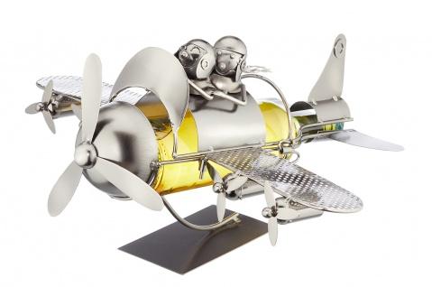 Flaschenhalter Weinflaschenhalter Flugzeug mit Propeller Metall Figur Deko