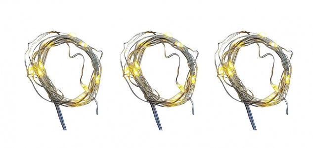 3er Set Micro LED Draht Lichterkette mit 10 LED´s warmweiß Batteriebetrieb 2xAA