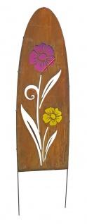 Gartenschild Metall oval Rostoptik Blumenmotiv Dekostele Gartenstecker Motivwahl - Vorschau 4