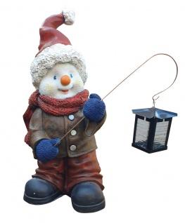 Schneemann Deko Figur außen mit Metall Laterne 52 cm Kunstharz Dekoration Winter