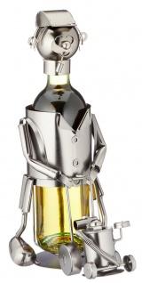 Flaschenhalter Weinflaschenhalter Metall Rasenmähende Figur Skulptur Deko