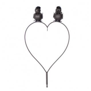 Gartenstecker 2 Vögel auf Herz Metall Futterstation Meisenknödel 26x10x151 cm