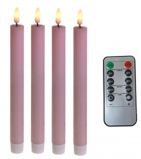 LED Stabkerzen 4 Stück Tafelkerzen rosa flammenlos Fernbedienung Timer Batterie