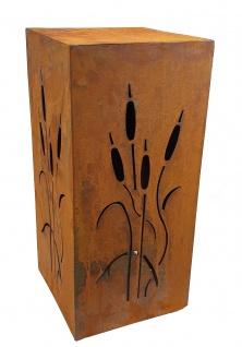 Edelrost Dekosäule Schilf-Motiv Gartendeko Metall Säule Naturrost 59, 5 cm