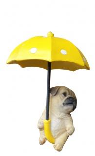 Deko-Figur Mops im Regenschirm sitzend Hund Fensterdeko hängend Indoor Outdoor