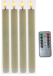LED Stabkerzen 4 Stück Tafelkerzen flammenlos Timer Batterie und Fernbedienung