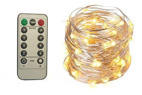 Micro LED Draht Lichterkette mit 50 LED´s Timer Fernbedienung 8 Leuchtfunktionen