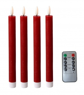 LED Stabkerzen 4 Stück Tafelkerzen rot flammenlos Fernbedienung Timer Batterie