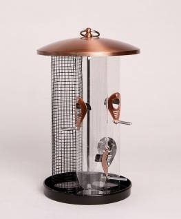 Vogelfutterspender Trio mit drei Futtersäulen Futterstation Silo Panorama