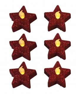 6er Set Teelichter Stern Glitzer rot Weihnachtsdekoration inkl. Batterien