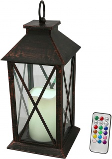 Deko Laterne mit LED-Kerze RGB-Farbwechsel Timer Fernbedienung Indoor Batterie