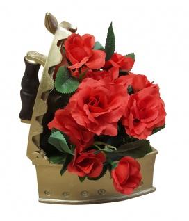 Deko Rosengesteck im Bügeleisen Tischdeko Kunstblumen Blumengesteck