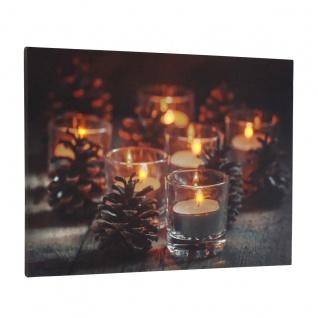 Leinwandbild mit LED-Beleuchtung 30 x 40 cm Wandbild mit Teelichter Leuchtbild