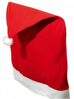 2er Set Stuhlhusse Weihnachten, Weihnachtsmütze, Stuhlüberzug, Filz, Nikolaus