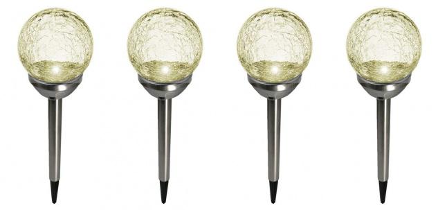 4er Set Kristallglas Premium Solarlampe Leuchte LED Edelstahl Gartenkugel - Vorschau 3