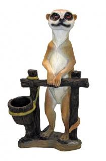 Erdmännchen am Zaun mit Pflanztopf Pflanzkübel Gartenfigur Skulptur Tierfigur