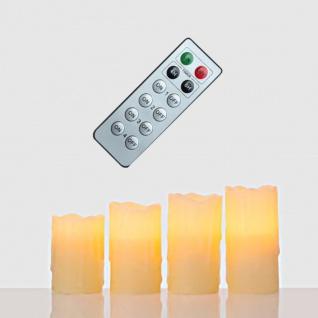 4er Set LED Kerze Echtwachs creme, mit Fernbedienung und Timer, 4 versch. Größen