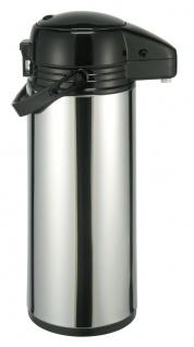 Pumpkanne Isolierkanne Airpot Thermoskanne Glaseinsatz Edelstahl 1, 9 Liter