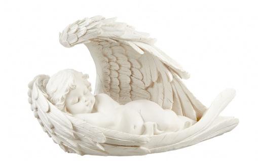 Engel im Flügel links liegend Grabengel weiß Grabschmuck Skulptur Putte