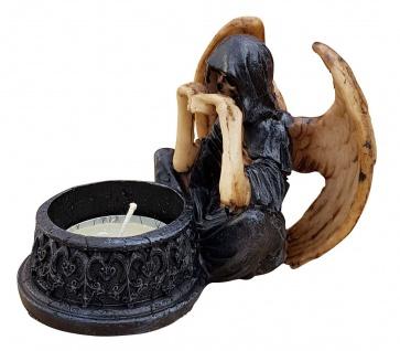 Dekofigur Geist mit Flügeln vor Teelicht Skelett Totenkopf Gothic Mystik Fantasy - Vorschau 2