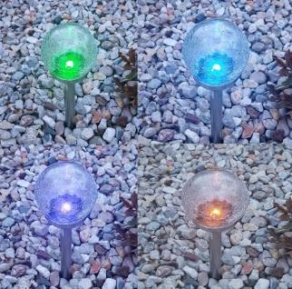 XL Premium LED Solarlampe RGB Farbwechsel o. kaltweiß schaltbar Edelstahl Ø11 cm