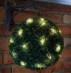 LED Solar Buchsbaum Kugel mit 20 warmweißen LEDs, beleuchtete Buchskugel Ø 20 cm