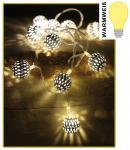 LED-Lichterkette mit 10 Kugeln weiß warmweiß Batteriebetrieb Weihnachtsdeko NEU