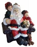 Dekofigur Weihnachtsmann mit Kindern im Sessel Weihnachtsfigur Deko Weihnachten