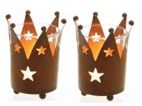 2er Set Teelichthalter Krone Metall Rost-Optik 9 cm Windlicht Kerzenständer