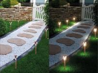 12er Set LED Solarleuchte, Edelstahl in Kupfer-Optik, Solarlampe mit Erdspieß
